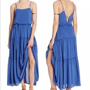 Free People Valerie Maxi Dress Tiered Blue